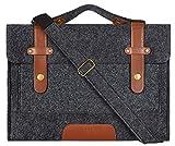 MOSISO Laptop Shoulder Bag Compatible with 15-15.6 inch MacBook Pro, Ultrabook Netbook Tablet, Ultraportable Protective Felt Slim Briefcase Carrying Handbag Sleeve Case Cover, Black