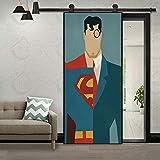 WellKin 3D Door Wall Creative Superman Inspired Sticker Self-Adhesive Waterproof Wallpaper DIY Removable Home Bedroom Decor Poster Decoration 30x79