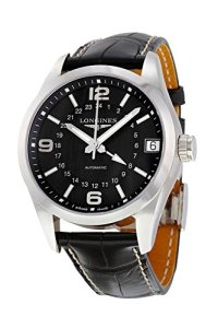 Longines Conquest Classic GMT Automatic Steel Mens Strap Watch Black Dial Calendar L2.799.4.56.5