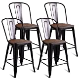 "Product review for Costway 23.6"" Copper Set of 4 Metal Wood Counter Stool Kitchen Dining Bar Chairs Rustic"