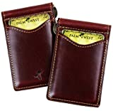 Palm West Leather Minimalist Leather Money Clip Wallet with RFID Blocking Technology, Dark Cherry