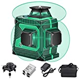 3X360 Cross Line Laser Leveling, 12 Lines Green Beam 131Ft Vertical Horizontal Line with 1 Base,4000mAh Larger Battery Capacity, Wider Range of Illumination,High Precision,Auto Self Leveling