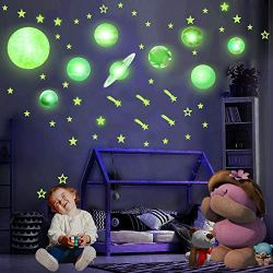 HORIECHALY Glow in The Dark Stars and Planets, Bright Solar System Wall Stickers -Sun Earth Mars,Stars,Shooting Stars.15 Glowing Ceiling Decals for Bedroom,Shining Space Decoration for Kids-140PCS.
