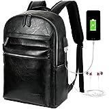 VBG VBIGER Mens Leather Backpack Business Backpack College School Bookbag PU Leather Travel Backpack for 15.6 Laptop with USB Charging Port and Headphone Port