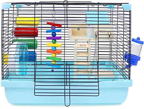 GalaPet Hamster and Gerbil Cage Habitat with Toys (Blue)