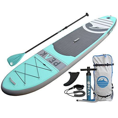 PEAK Inflatable 10'6 Stand Up Paddle Board Complete Package (6' Thick) | Includes Adjustable Paddle , Travel Backpack, Coil Leash (Aqua)