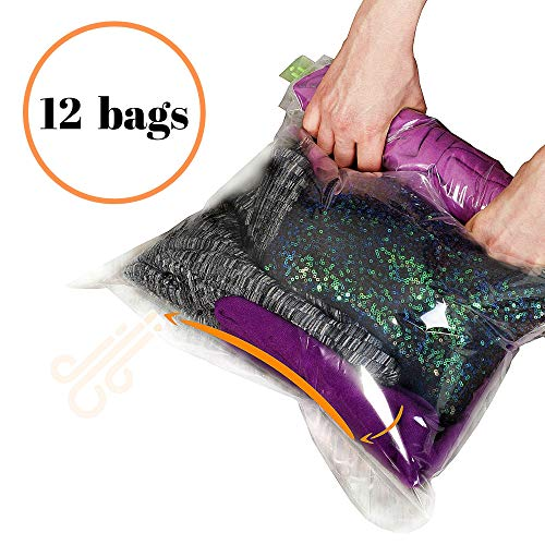 12 Travel Storage Bags for Clothes – Compression Bags for Travel – No Vacuum or Pump Sacks-Save Space in your Luggage Accessories