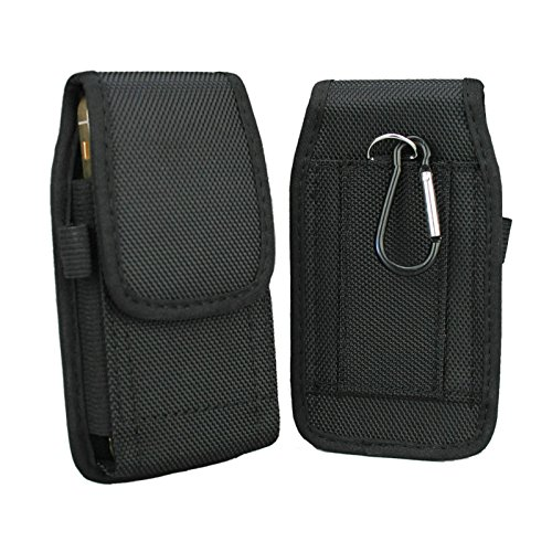 aubaddy Vertical Nylon Pouch Holster with Belt Loop for iPhone 5 / 5S / 5C / SE - Fit with a Thin Case (Black)