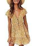 Valphsio Womens Floral Print Mini Dress V Neck Short Sleeve Boho Swing Dresses Yellow