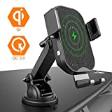 Squish Wireless Car Charger Mount, 10W 7.5W Qi Fast Wireless Charger Car Phone Holder, Auto Clamping Car Mount for Dashboard Windshield Compatible with iPhone Xs Max/XS/XR/X/8/8+ Samsung S9/S9+/S8/S8+