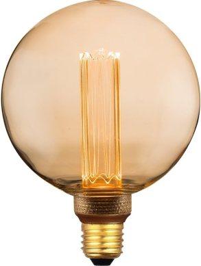 Vintage Round LED Light Bulb, Globe Amber Glass Bulb