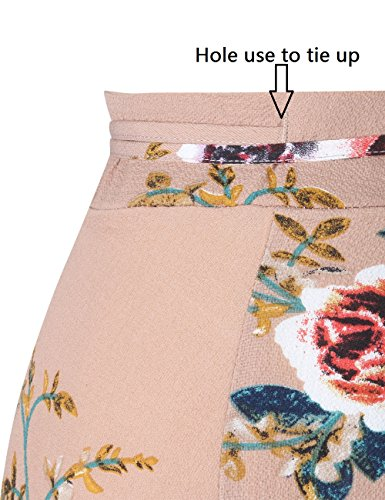 47ea808428 Yonala Womens Boho Floral Tie Up Waist Summer Beach Wrap Cover Up Maxi Skirt