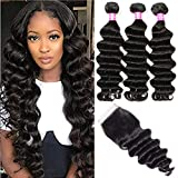 Symorain Brazilian Loose Deep Wave Bundles with Closure (12 14 16+10)9A Virgin Hair Wet and Wavy Loose Deep Curly 100% Human Hair 3 Bundles with Swiss Lace Closure Hair Extensions Natural Color