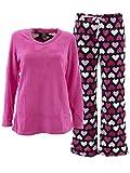 Donna L'oren Women's Hearts Pink Fleece Pajamas XL