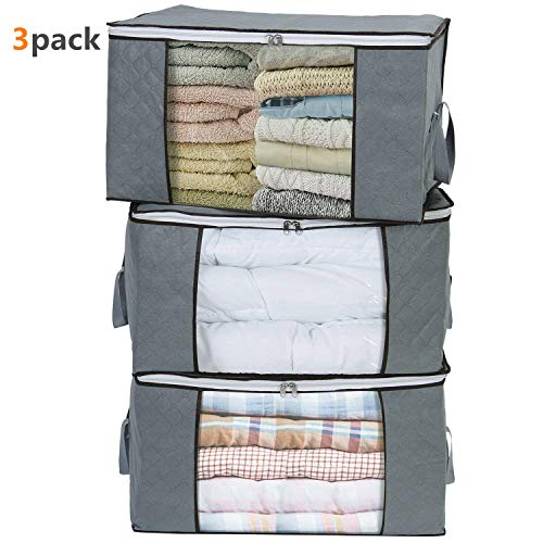 LivingBox Foldable Storage Containers Fabric See-Through Window, Household Home Organizers, Oxford Fabric Storage Bins, 3 Pack