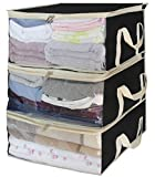 Foldable Storage Bags, Clothes Organizer Storage Containers for Clothing, Sweater, Blanket, Comforter, Bedding in Bedroom, Closet,3 Piece Set(Black)
