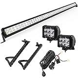 YITAMOTOR 52' inch 300W Combo+ 2X 18W Spot LED Light Bar + Mounting Brackets+Wiring for JEEP JK Wrangler