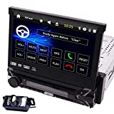 Free Backup Camera Included! 7 inch Retractable Capacitive Touch Screen Wince System Single 1 Din Car Stereo DVD Player Support GPS Navigation/USB/SD/Cam-in/Bluetooth/SWC