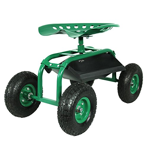 Sunnydaze Rolling Shop Cart with 360 Degree Swivel Seat & Tool Tray, Green