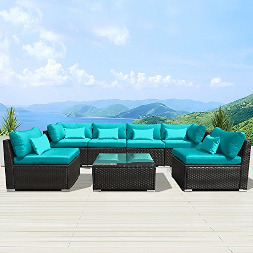 Wondrous Modenzi 7G U Outdoor Sectional Patio Furniture Espresso Brown Wicker Sofa Set Turquoise Dustin A Purtan Ncnpc Chair Design For Home Ncnpcorg