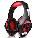 Pobon Surround Stereo Gaming Headset PS4 PC Mac Computer USB 3.5mm Over-Ear Game Headband Headphones with Microphone Noise Isolating Volume Control LED Light for Playstation 4, Xbox One, Laptop (Red)