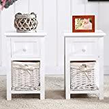 SUNCOO Pair of Retro Chic Nightstand End Side Bedside Table w/Wicker Storage Wood White