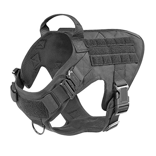 ICEFANG Large Dog Tactical Harness,Military K9 Working Dog Molle Vest,No Pulling Front Clip,Tracking Trailing Clip,Metal Buckle Easy Put On Off (L (28'-35' Girth), BK-Metal Buckle)