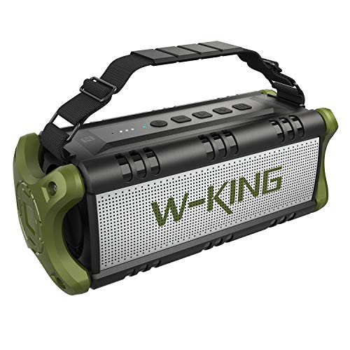 50W(70W Peak) Wireless Bluetooth Speakers Built-in 8000mAh Battery Power Bank, W-KING Outdoor Portable Waterproof TWS Speaker, Powerful Rich Bass Loud Stereo Sound for Home/Party/Gym/Phone Charging