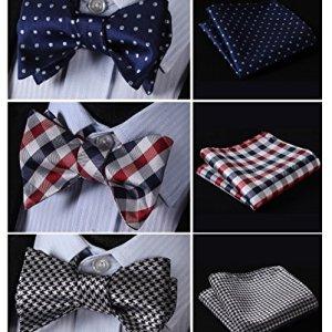 HISDERN 3pcs Mixed Design Classic Men's Self-Tie Bow tie & Pocket Square – Multiple Sets