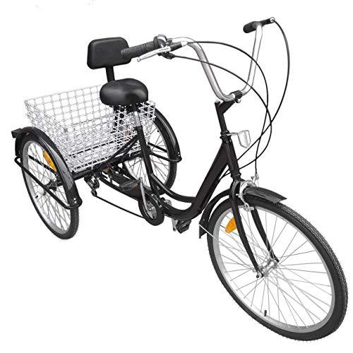 Thaisan7, 6-Speed 24' 3-Wheel Adult Tricycle Bicycle Trike Cruise Bike W/large Basket, fun healthy riding