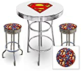 Superman S Logo Themed Glass Top Chrome Metal White Bar Pub Table Set with 2 Swivel Bar Stools