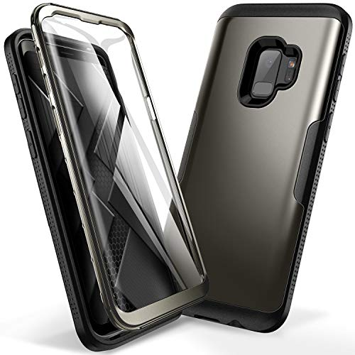 YOUMAKER Galaxy S9 Case, Gun Metal with Built-in Screen Protector Heavy Duty Protection Shockproof Slim Fit Full Body Case Cover for Samsung Galaxy S9 5.8 inch (2018) - Gun Metal/Black