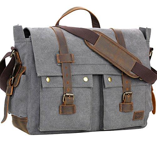 WOWBOX Messenger Bag for Men 17.3 inch Canvas Laptop Bag Bookbag Working Bag for Business School Gray