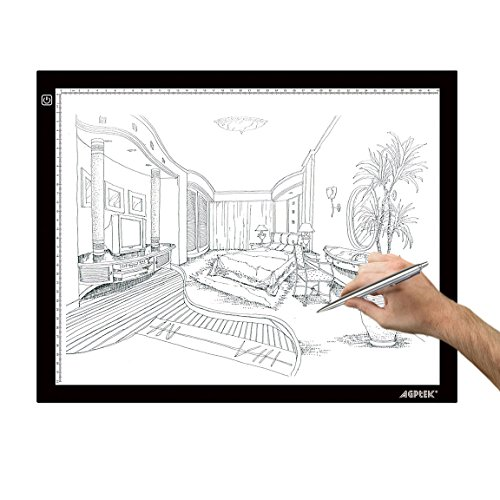 Light Box, AGPtek LED Artcraft Tracing Light Pad Ultra-thin USB Power Cable Dimmable Brightness Tatoo Pad Animation, Sketching, Designing, Stencilling X-ray Viewing W/USB Adapter (PSE Approval)
