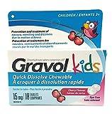 GRAVOL Children's 18 Quick Dissolve CHERRY Chewable Tablets for Anti-Vomiting/Nausea Dye Free