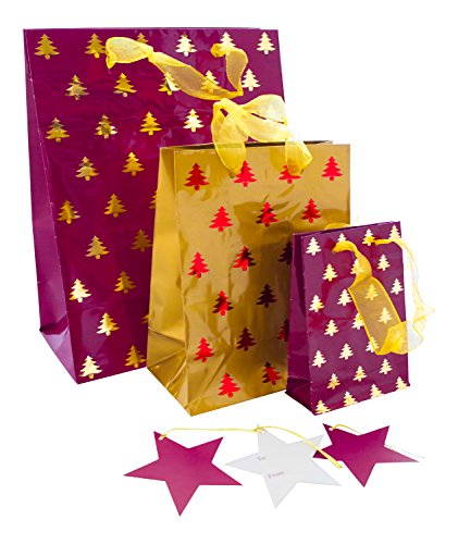 Christmas Gift Bags Images.Christmas Gift Bags 3 Assorted Sizes Of Foil Xmas Bags With Metallic Ribbon Handle Gold And Red Travel