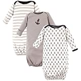Luvable Friends Unisex Baby Cotton Gowns, Nautical 3-Pack, 0-6 Months