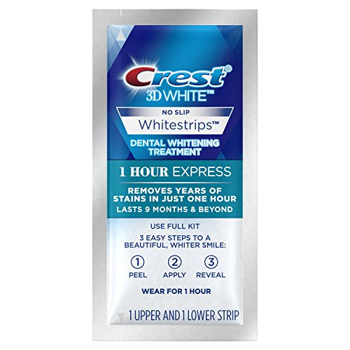 Crest 3D 1 Hour Express White Strips Dental Teeth Whitening Strips Kit, Lasts 9 Months & Beyond, 7 Treatments