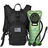 SHARKMOUTH Tactical MOLLE Hydration Pack Backpack 900D with 2L Leak-Proof Water Bladder, Keep Liquids Cool for Up to 4 Hours, Outdoor Daypack for Cycling, Hiking, Running, USA Flag Patch,Black