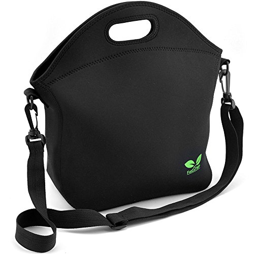 Neoprene Lunch Tote Washable Lunchbox Bag with Shoulder Strap, Non-toxic Insulated Lunch Bag with Extra Pocket (Black N2) for Office Picnic by F40C4TMP