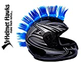 Helmet Hawks Motorcycle, Ski or Snowboard Helmet Mohawk w/Sticky Hook and Loop Fastener Adhesive (8) Hair Patches 2' long x 3' Tall - Fluorescent Neon Blue