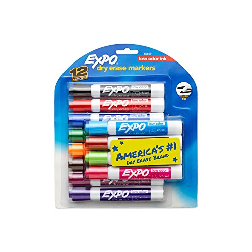 EXPO Low Odor Dry Erase Markers, Chisel Tip, Assorted Colors, 12 Count
