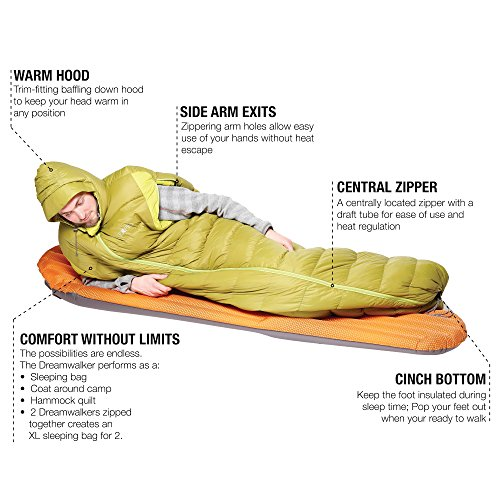 Exped DreamWalker -2°C/+28°F Down Sleeping Bag, Lichen Green, Large
