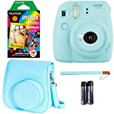 Fujifilm Instax Mini 9 - Ice Blue Instant Camera, 10 Prints Fujifilm Instax Rainbow Instant Mini Film, Fujifilm Instax Groovy Camera Case - Blue
