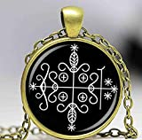 papa legba voodoo pendant ritual altar pendant occult medallion diy jewelry glass dome necklace