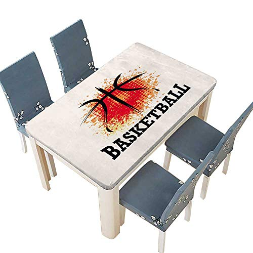 PINAFORE Polyesters Tablecloth Basketball t-Shirt Banner backdrops Design Wedding Birthday Baby Shower Party W33.5 x L73 INCH (Elastic Edge)
