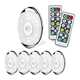 LED Puck Light, led Lights Battery Operated with Remote Control, Wireless Soft Lighting, Under Cabinet Lighting for Kitchen, Timer+ Dimmer, 4000K Warm White, 6 Pack