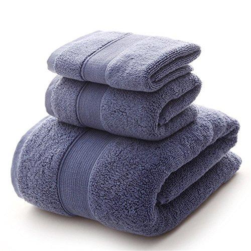 YIH Bath Towel Sets 900 GSM Premium 3 Piece Bathroom Sheets Blue, Luxury Hotel Spa 100% Cotton, 1 Bath Towels, 1 Hand Towels and 1 Washcloths