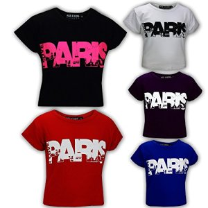 "Kids Girls "" I LOVE PARIS "" Print Fashion Crop Top Trendy T Shirt Age 7-13 Years"