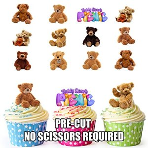 PRE-Cut Teddy Bears Picnic – Edible Cupcake Toppers/Cake Decorations (Pack of 36) 51u0GbLdnIL